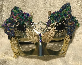 OOAK Fairy Princess, Girl's Butterfly Mask, Gold Costume Mask, Beaded Costume Mask, Girl's Mardi Gras Mask, Party Mask, Halloween, Masque