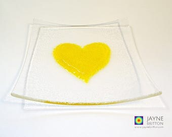 Fused glass yellow heart on square clear glass plate, sushi plate, snack plate, altar plate, presentation plate, sweetie bowl, gift of love