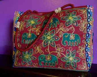 Red hand-embroidered elephant bag
