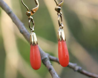 Art Deco 14 k Gold Coral Earrings  / Free Shipping Worldwide.
