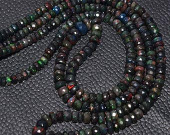 Natural Wello Black Opal Multi Fire Ethiopian Black Opal Faceted Rondelle Beads High Quality 6.5 - 3.5 MM Size 10 Inches Strand