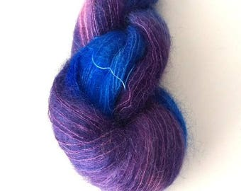 Hand Dyed Yarn Kid Mohair Silk, Lace 50g - Elderberry