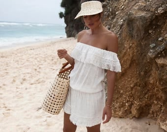 New!  Cotton Cheesecloth Ladies Summer Beach Dress | Off the Shoulder | Cheesecloth