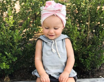 Pink and white, baby turban, baby hat, infant hat