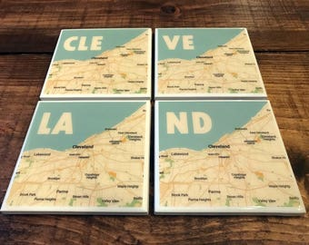 CLEVELAND Map Coasters - 4 Styles - Resin Coated