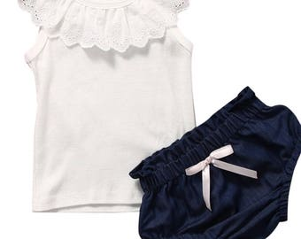 white ruffle tank with denim bottom