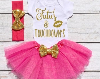 Tutu's and Touchdown's. Girls Football Tutu Outfit. Football Outfit. T19 FBL (HPINK)
