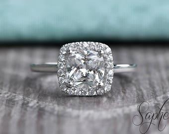 Moissanite Cushion Halo Diamond Engagement Ring in 14k White Gold, Bridal Ring, Cushion Halo Ring, Promise Ring, Wedding Ring by Sapheena