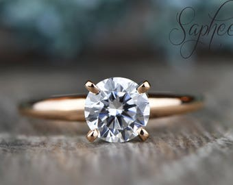 Dainty Round White Sapphire Solitaire Engagement Ring in 14k Rose/White or Yellow Gold, 1ct Wedding Ring, Promise Ring,Bridal by Sapheena