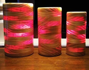 Translucent Pine Cylinder Lamps - Set Of 3