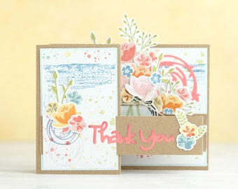 Thank You Mason Jar with Flowers Z-fold Card