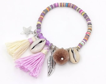 Summer boho bracelet / / / colorful polymer clay beads / cowry shells / tassels / silver charm