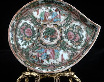 Antique Rose Medallion Leaf Tray - Late 19c.