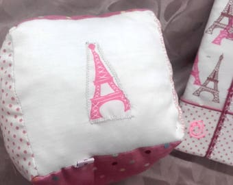TOY CUBE IN SHADES OF ROSE AND EIFFEL TOWER FABRIC