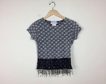 Vintage Fringe Top, Crochet Top, 90s Chic Top