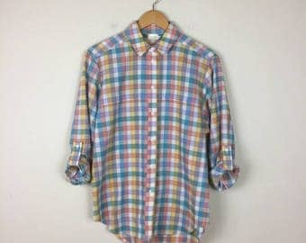 Vintage Checkered Button Up, Pastel Button Up, Checkered Shirt