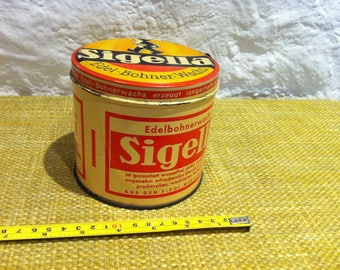Vintage German SIGELLA tin Box can, with content Old advertising