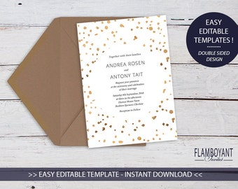 CONFETTI BRONZE Invitation - Printable - Editable Template - Bronze-Effect Confetti Style - Instant Download by Flamboyant Invites