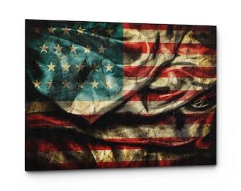 Vintage American Flag Canvas Wall Art Print