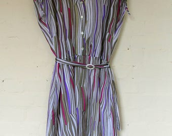 1980's striped summer dress with belt by C&A - size 14/16