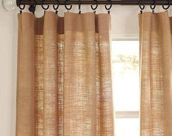 Burlap curtains, 2 panels 40x84-38.00