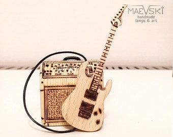 "Mini Guitar 3"" with amplifier Gift for music lover Wooden decor Gift for boyfriend Musical gift for her Ibanez inspired Personalized gift"