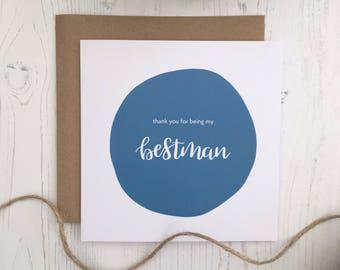 Thank You Best Man | Bestman Card | Best Man Card | Bestman | Best Man | Wedding Thank You Cards