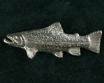 Brook Trout pin in sterling silver