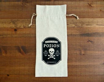 Poison Linen Wine Bag - Halloween Themed, Skull