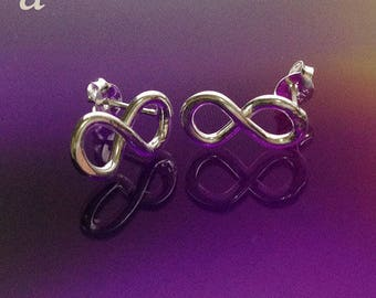 925 Solid Sterling Silver INFINITY SYMBOL Earrings-Lemniscate Earrings-Infinity Loops Jewelry-Stud-Oxidized/Polished