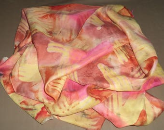 silk scarf handpainted with salmon 180 cm x 45 cm