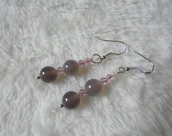 Sterling Silver Semi Precious Grey Agate & Swarovski Crystal bead Earrings - Gift Boxed