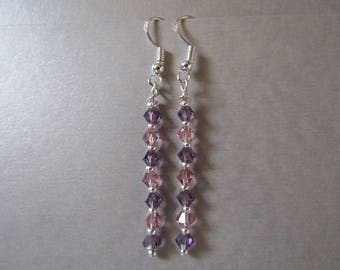 Swarovski and Stardust Amethyst and Lilac Dangle / Drop Sterling Silver Earrings Sparkly and Gorgeous!!