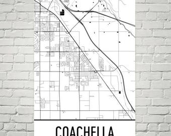 Coachella CA Map, Coachella Art, Coachella Print, Coachella California Poster, Coachella Wall Art, Gift, Map of California, California Decor