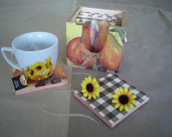 Fall sunflower coasters