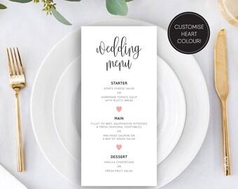Printable wedding menu/ Editable menu/ Hearts/ PDF/ Download/ Custom/ Elizabeth suite #49-16