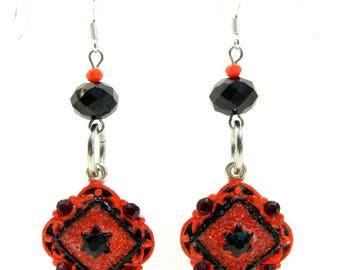 """Earrings """"Red and Black"""" frame 925 Silver hook, unique, handmade"""