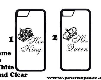 King and queen his and hers couples phone case samsung / iphone