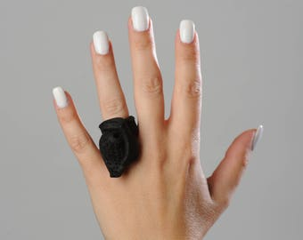 Over- Sized Black Leather Ring