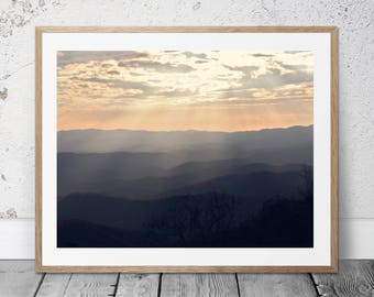 Mountain Photograph, Printable Art, Sunrays, Blue Ridge Mountains, Sunset
