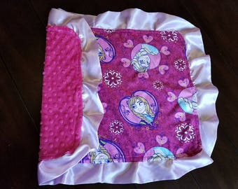 ON SALE! Frozen Minky Tag Security Blanket/Lovie - Pink, Dimple Dot - Baby, Child - Gift/Present/Shower, Girl