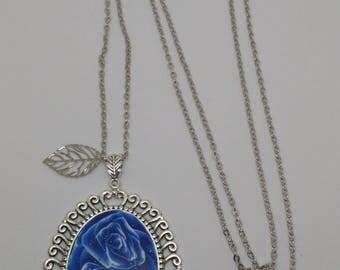 Blue fimo Rose cameo necklace