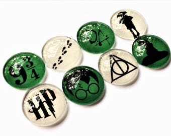 Harry Potter Magnets in Slytherin Colors | Set of 8 | Handmade Glass Magnets | Harry Potter Gift | Harry Potter Magnet | Harry Potter Decor