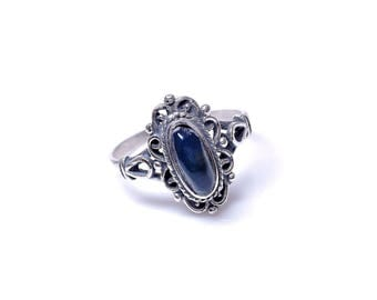 Vintage ring blue Royal blue amber 925 sterling silver 57'