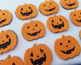 Halloween Jack O Lantern Felt Craft Stickers ~ DIY Fall Decorations ~ Birthday Embellishments ~ Set of 12