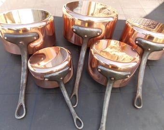 french copper pans pots 5 vintage copper pots french copper saucepans villedieu - Copper Pots