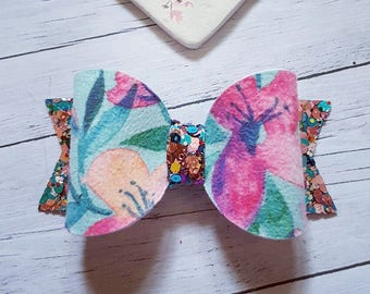 Suede Floral Bow