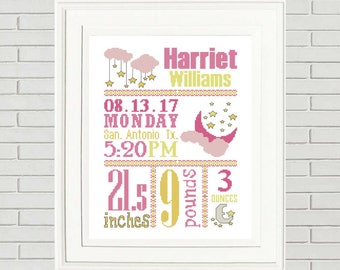 Baby cross stitch patterncustom cross stitchsuperman birth baby girl cross stitch pattern custom cross stitch baby cross stitch birth announcement new baby gift negle Gallery