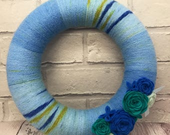 Blue wool & felt flower wreath