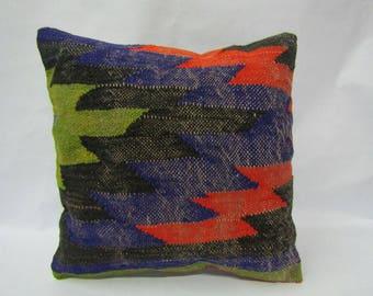 Handmade Kilim Pillow Cover,16x16 inches,Decorative Turkish Handmade Kilim Pillow Cover